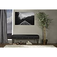 Baxton Studio Tavignano Wood and Leather Contemporary Bench, Black