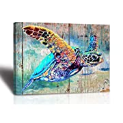#LightningDeal Sea Turtle Bathroom Wall Decor Canvas Prints Life Teal Watercolor Painting Beach Theme Artwork 1 Panels Framed for Bedroom Living Room Bedroom Home Office Decorations 16x24x1 Turtle wall art Baby