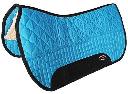 CHALLENGER Equine Western Horse Saddle PAD 28X32 Double Back Fleece Lined Blue Black 3995 Double Fleece Saddle Pads