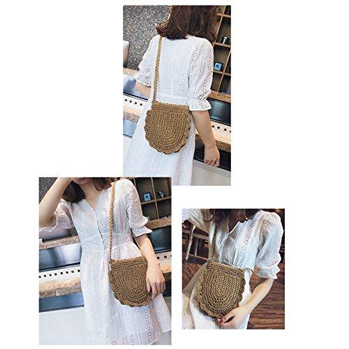 Donalworld Women Beach Bag Round Straw Crochet Shoulder Summer Bag Purse S Shlcf by Donalworld (Image #1)