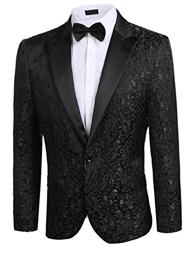 Donet Men's Floral Party Dress Suit Notched Lapel Stylish Dinner Jacket Wedding Blazer Prom Tuxedo Black X-Small