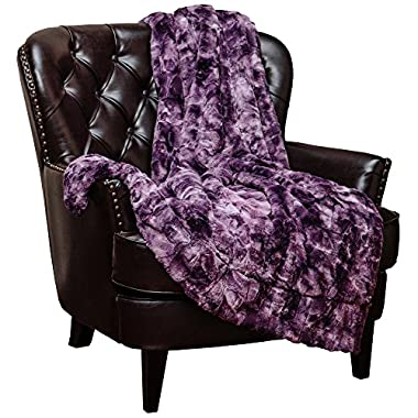 Chanasya Super Soft Fuzzy Fur Faux Fur Cozy Warm Fluffy Beautiful Color Variatiion Print Plush Sherpa Dark Purple Fur Throw Blanket - Aubergine Violet Waivy Fur Pattern