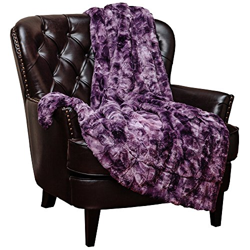 Chanasya Faux Fur Throw Blanket | Super Soft Fuzzy Light Weight Luxurious Cozy Warm Fluffy Plush Hypoallergenic Blanket for Bed Couch Chair Fall Winter Spring Living Room (50 x 65) - Aubergine (Soft Blanket Purple)