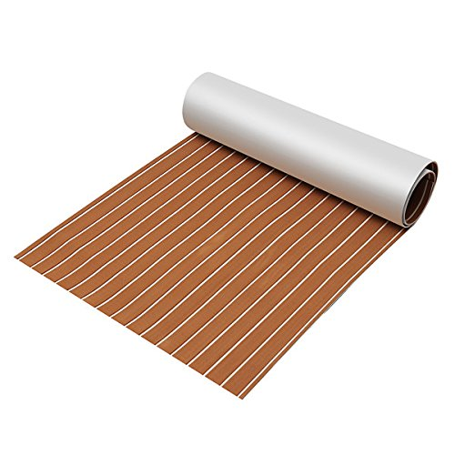 CoCocina 90x240cm Light Brown with White EVA Foam Teak Boat Flooring Sheet Yacht Synthetic Teak