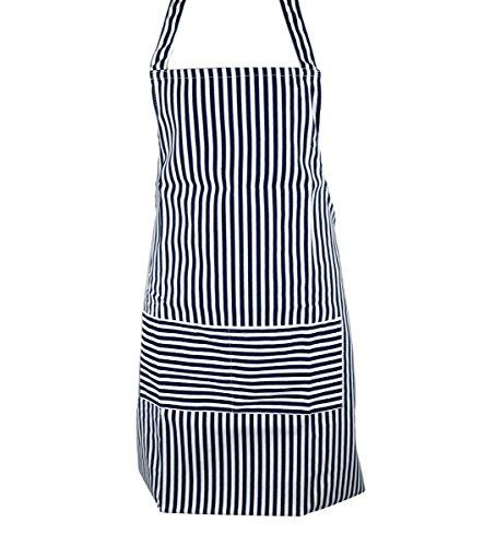 Navy Blue Chalk Stripe - Blue White Stripe Kitchen Cooking Work Garden Apron With Pockets