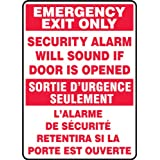 """ACCUFORM SIGNS FBMEXT566VS Adhesive Vinyl French Bilingual Sign, Legend """"EMERGENCY EXIT only SECURITY ALARM WILL SOUND IF DOOR iS OPENED/SORTIE D'URGENCE SEULEMENT L'ALARME DE SECURITE RETENTIRA SI LA PORTE EST OUVERTE"""", 14-Inch by 10-Inch by 0.004-Inch, Red on White"""