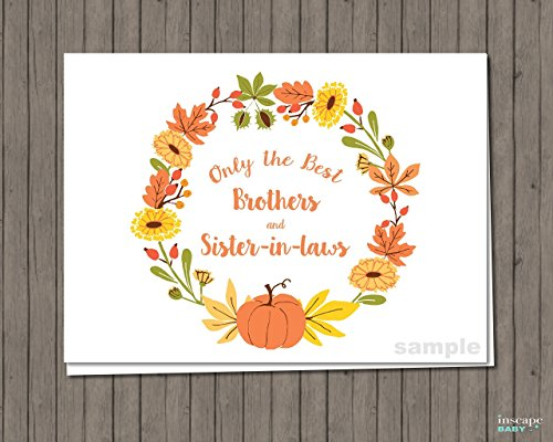 Pumpkin Pregnancy Announcement Card, Fall Pregnancy Announcement - Only the Best Brothers & Sister-in-Laws Get Promoted To - New Uncle, New Auntie, Pregnancy Reveal, A330-30R