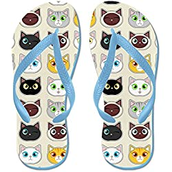CafePress - Cattitude - Cute Cat Expressions Pattern Flip Flop - Flip Flops, Funny Thong Sandals, Beach Sandals