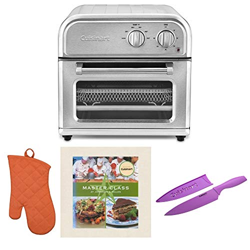 Cuisinart Air Fryer, Silver Includes Oven Mitt, Knife and Cookbook Bundle (4 Items)