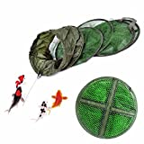 Haobase Floating Wire Basket 4 Layers Fishing Net Cage Utility Folding Fish Care Creel Tackle Portable Stake Small Mesh Net