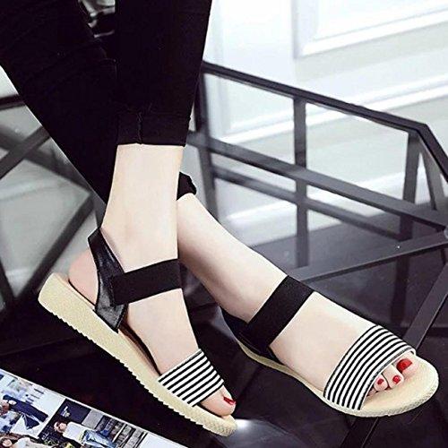 Sandalias de mujer, Internet Las mujeres rayan verano bohemia sandalias Negro