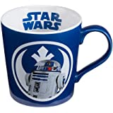 """Vandor Set of Star Wars, Blue And White 12oz Ceramic R2D2 Mugs, """"Bleep Bleep Bloop"""" 5 Inches Long by 3.75 Inches Tall by 3.75 Inches in Diameter"""