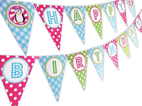 Penguin Party Pink Happy Birthday Banner (Penguin Birthday)