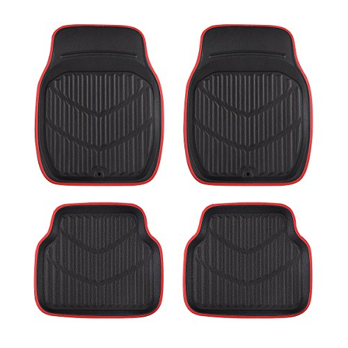 (CAR PASS Universal Fit PVC Leather Car Floor Mats, Anti-Slip for Suvs,Vans,Trucks,Pack of 4 (Black and Red))