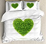 Green King Size Duvet Cover Set by Ambesonne, Heart Symbol with Fresh Leafage Foliage Health Growth Ecology Environment Theme, Decorative 3 Piece Bedding Set with 2 Pillow Shams, Fern Green White