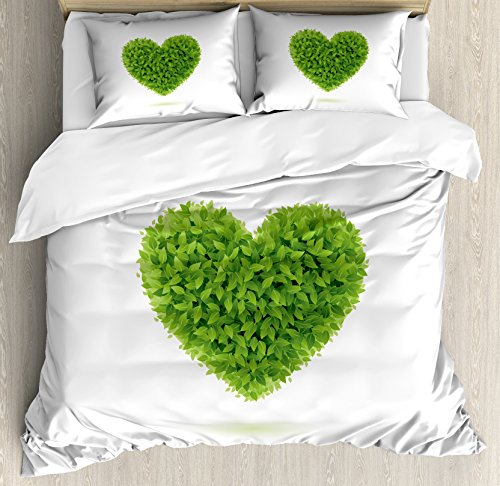 Green King Size Duvet Cover Set by Ambesonne, Heart Symbol with Fresh Leafage Foliage Health Growth Ecology Environment Theme, Decorative 3 Piece Bedding Set with 2 Pillow Shams, Fern Green White by Ambesonne (Image #2)
