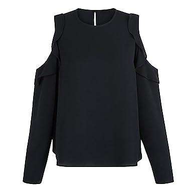 726c653db83 Needra Women Autumn Long Sleeve Bardot Blouse Clold Shoulder Strapless  Chiffon Top Shirt Black Red Blue: Amazon.co.uk: Clothing