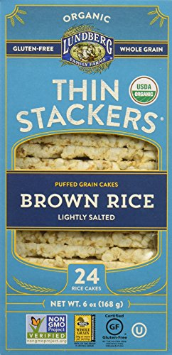 Lundberg Family Farms Thin Stackers Brown Rice Lightly Salted Grain Cakes, 5.9 Ounce (Pack of 12) by Lundberg