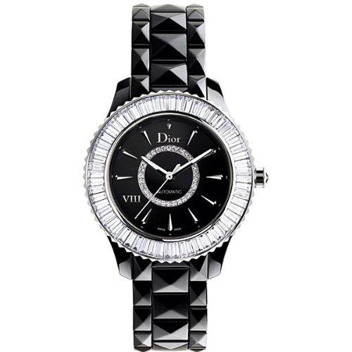 New Ladies Dior VIII Eight Black Ceramic Baguette Diamonds - Black Watches Dior Ladies
