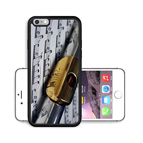 Liili Premium Apple iPhone 6 Plus iPhone 6S Plus Aluminum Backplate Bumper Snap Case flute with gold mouthpiece on sheet music Photo 204696 (Scratch Mouth Sheet)