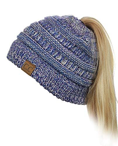 Accessories Purple Fashion (C.C BeanieTail Soft Stretch Cable Knit Messy High Bun Ponytail Beanie Hat, Blue/Purple/Gray)