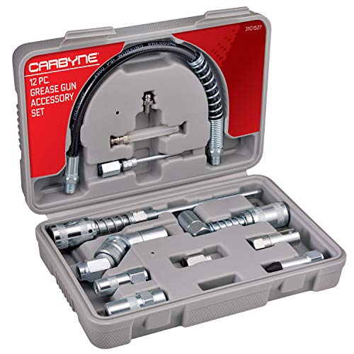 Carbyne 12 Piece Grease Gun Accessory Set | All-in-One Set Includes Couplers, Nozzles, Adapters and Flex Hose