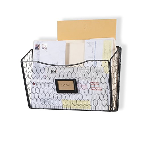Wall35 Felic Hanging File Holder - Wall Mounted Metal Chicken Wire Magazine Rack - Office Folder Organizer with Name Tag Slot in Black -
