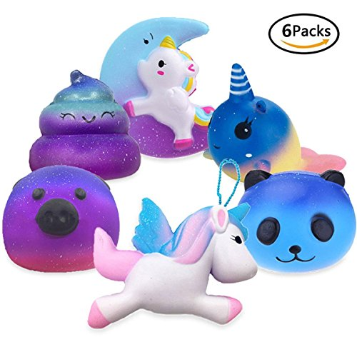 Dolphins Moon (FIDGET DICE Jumbo Cute Moon Unicorn, Fly Unicorn, Galaxy Panda, Galaxy Pig, Dolphin, Poop Emoji Set Kawaii Cream Scented Squishies Slow Rising Decompression Squeeze Toys for Kids or Stress Relief Toy)