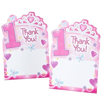 1st Birthday Princess ThankYou Cards 20 Per Pack By KidsPartyWorld