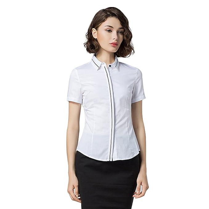 ZAMME Ropa de Oficina para Mujeres Blusa con Cuello Redondo Camisa Manga Corta Blanca: Amazon.es: Ropa y accesorios