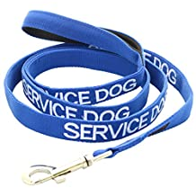 SERVICE DOG Blue Color Coded Nylon 2 Foot 4 Foot 6 Foot Luxury Padded Handle Dog Leash (Do Not Disturb) PREVENTS Accidents by Warning Others of Your Dog in Advance (6 Foot Leash)