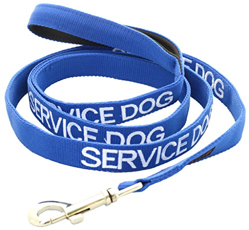 SERVICE DOG Blue Color Coded 2 4 6 Foot Padded Dog Leash (Do Not Disturb) PREVENTS Accidents By Warning Others of Your Dog in Advance (Leash 6 Foot)