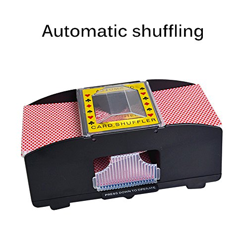 DDSKY Card Shuffler, Automatic Poker Card Shuffler Battery Powered Perfect Casino Game Table Accessory for All Ages - 2 Free Casino Decks by DDSKY
