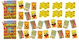 LightShine Products 120 Piece Emoji Pencils, Spiral Notebooks & Erasers Bundle Pack For Kids at Home or in School Classroom
