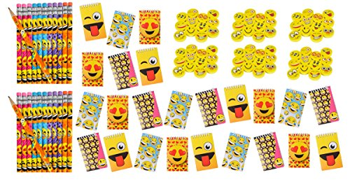 LightShine Products 120 Piece Emoji Pencils, Spiral Notebooks & Erasers Bundle Pack For Kids at Home or in School Classroom -