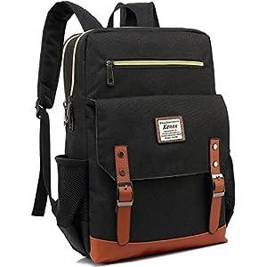 Kenox Mens Large Vintage Canvas Backpack School Laptop Bag Hiking Travel Rucksack (Blackfabric)