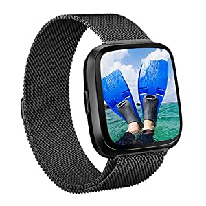 DEKER for Fitbit Versa Bands Women Men Small Large, Breathable Milanese Loop Stainless Steel Magnetic Closure Clasp Replacement Metal Strap Bracelet Adjustable Wristbands for Fitbit Versa Smartwatch
