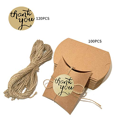 (Kraft Pillow Boxes,100PCS Christmas Candy Boxes for Wedding,Baby Shower and Party Candy and Gift Wrapping + 100PCS Jute Twines + 120PCS Thank You Stickers)