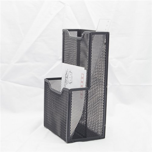 Mesh Stock (Stock Show 1Pcs Mesh Collection 2-Pocket Metal Wall Mounted Postcard Caddy/Chopsticks Holder/Tableware Container/Stationery Sorter, Black)