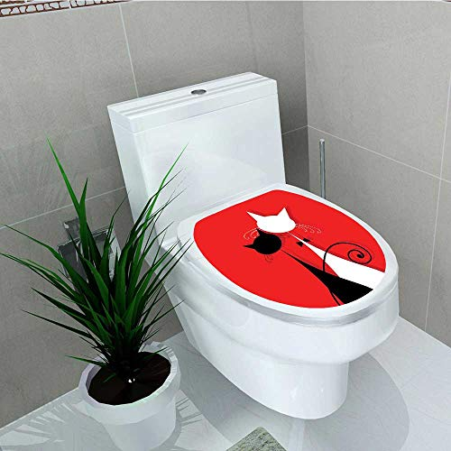 Philip C. Williams Toilet Seat Wall Stickers Paper March r Cats in Wedding Gowns with Swirl Tails Scarlet and White Decals DIY Decoration W6 x L8