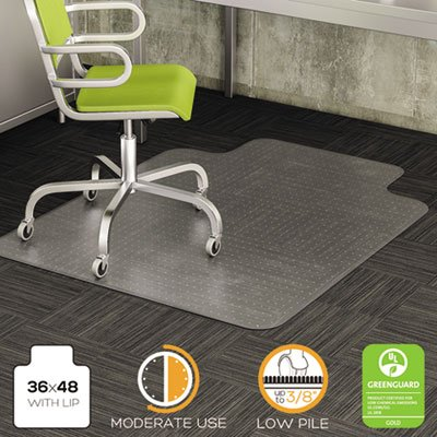 DuraMat Moderate Use Chair Mat for Low Pile Carpet, 36 x 48 w/Lip, Clear, Sold as 1 (Duramat Vinyl Chair Mat)