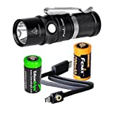Fenix RC09 USB rechargeable 550 Lumen CREE XP-L HI LED Flashlight EDC with 16340 Li-ion battery , and EdisonBright CR123A Lithium back-up Battery bundle