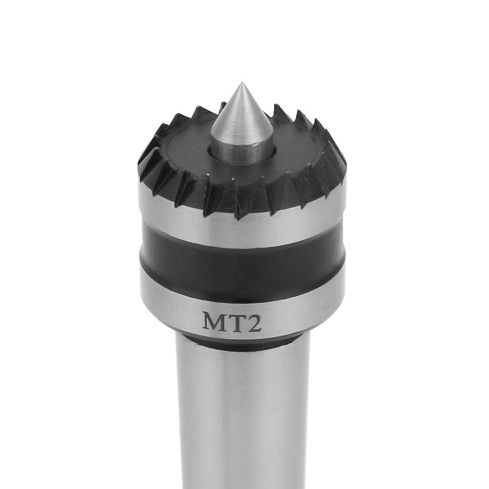 MT2 Wood Turning Tool,Heavy Duty Bearing Tailstock Wood Metal Lathe Live Center,Multitooth Wood Lathe Drive Center Spring Point A
