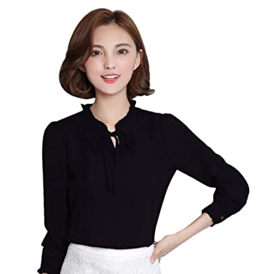 dad99646113 vermers Women Chiffon Shirts Women Lace-up Solid Long Sleeve Floral Work Bow  Tie Shirt