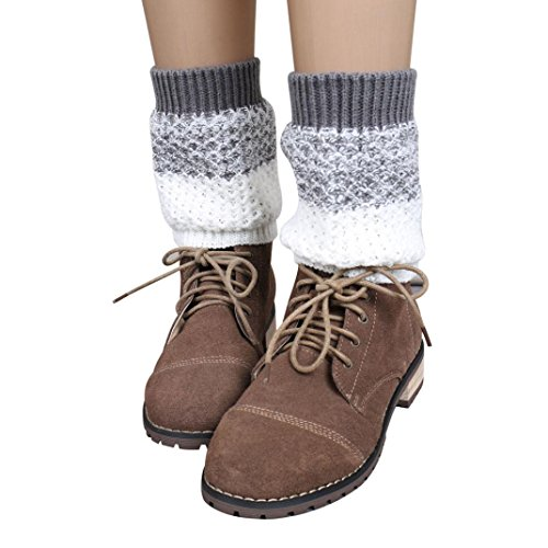 Invisible Man Costume 2016 (RIUDA Fashion Socks, 2016 Jacquard Knitted Leg Warmers Socks Boot Cover, 14.5X14cm (Gray))