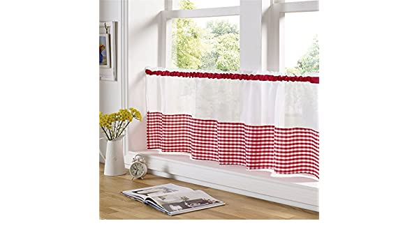 "150CM X 61CM KITCHEN CAFE CURTAIN PANEL RED AND WHITE GINGHAM 59/"" X 24/"""