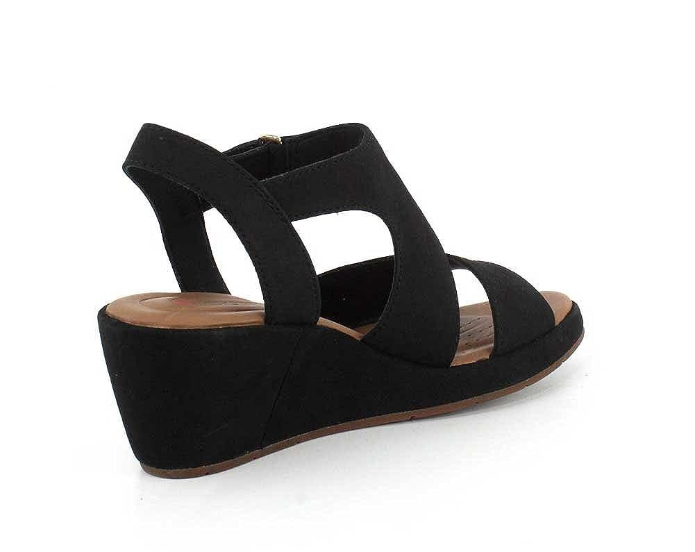 CLARKS Womens Un Plaza Sling Wedge Sandal, Black Nubuck