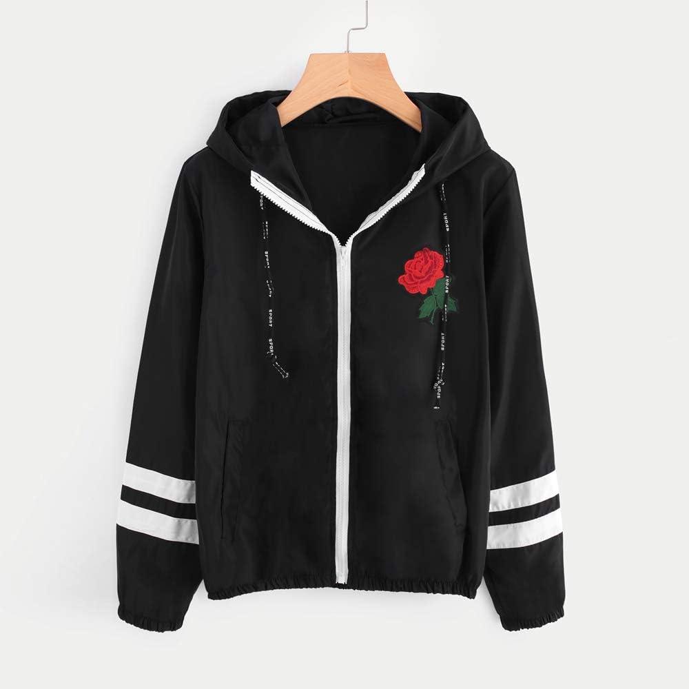 FACAIAFALO Womens Waterproof Raincoat Rose Hooded Zip up Windbreaker Pockets Jacket Sport Coat Windproof Outwear