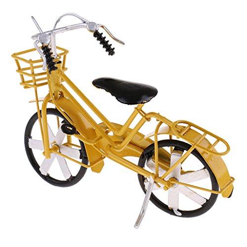 Baoblaze Modelo Bicicleta de Estaño Adorno de Diseño Retro (Rojo / Amarillo, 14 x 4 x 11 cm) - Amarill