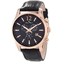 Lucien Piccard Men's 11567-RG-01 Adamello Gold-Tone Watch with Black Leather Band
